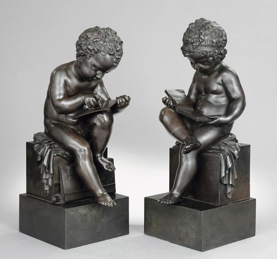 BELLE PAIRE DE BRONZES REPRÉSENTANT UN ENFANT LISANT ET UN ENFANT DESSINANT, FRANCE, VERS 1800-1820, D'APRES UN MODÈLE DE CHARLES-GABRIEL SAUVAGE, DIT LEMIRE (1742-1827)