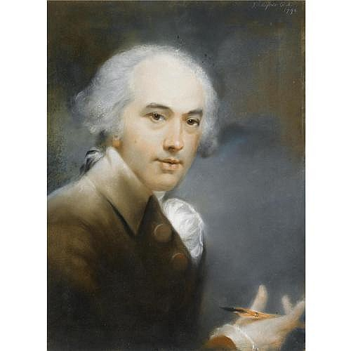 John Russell R.A. 1745-1806 , Self-portrait, a pencil in his right hand