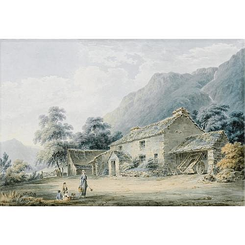 Paul Sandby Munn 1773-1845 , Figures before a Farm house, traditionally identified as Keskadale, Cumbria