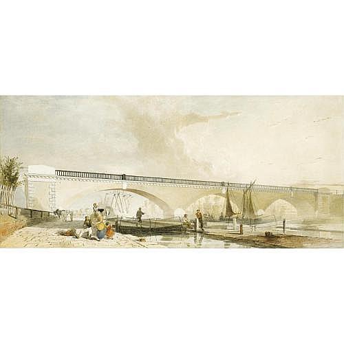 George Haydock Dodgson O.W.S. 1811-1880 , Figures gathered before the Regent's Viaduct, London