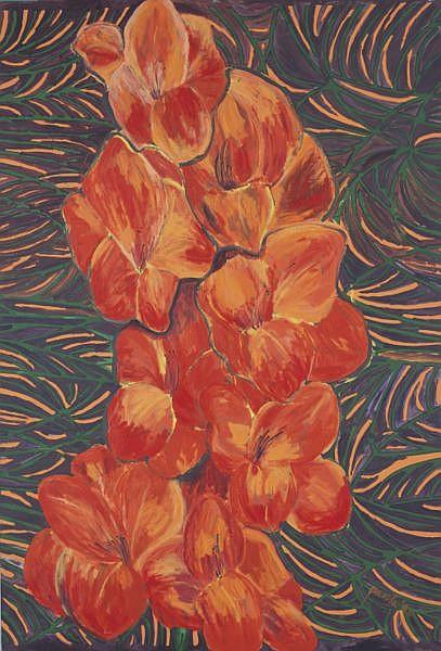 Pacita Abad 1946-2004 , Orange Gladiola oil on canvas