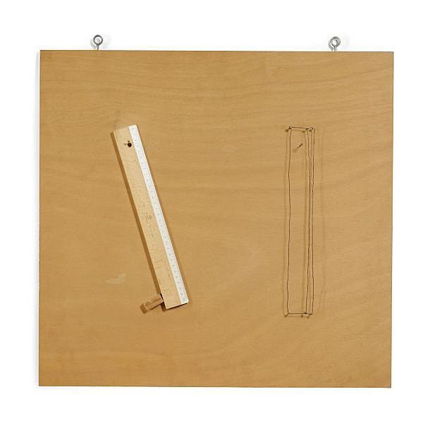 - Robert Filliou , b. 1926 Object for Measuring Art Works   pencil, wood block, wire, nails and wooden ruler mounted on plywood