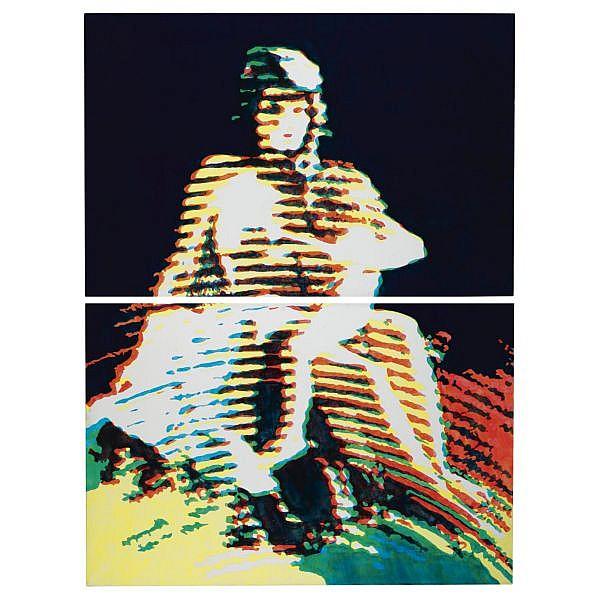 - Alain Jacquet , b. 1939 La vièrge et l'enfant oil, pencil and silkscreen print on canvas, in two parts