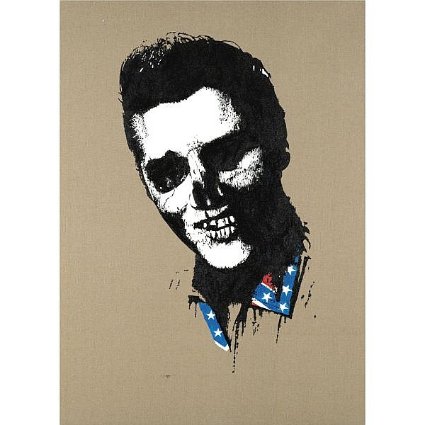 - Paul Insect , b. 1971 Elvis acrylic and screenprint on canvas