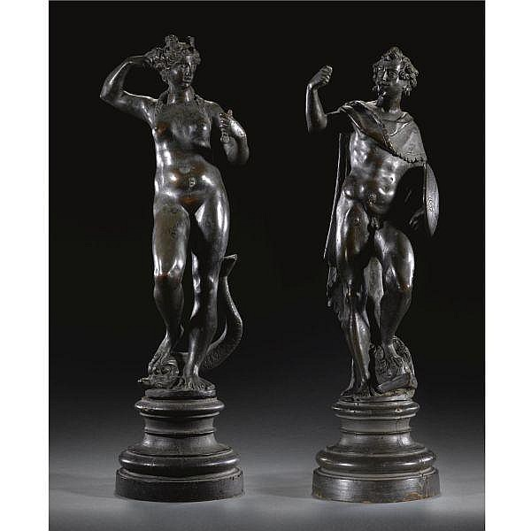 - Workshop of Tiziano Aspetti(1559-1606) Italian, Venice, late 17th century , a pair of bronze andiron figures of Mars and Venus