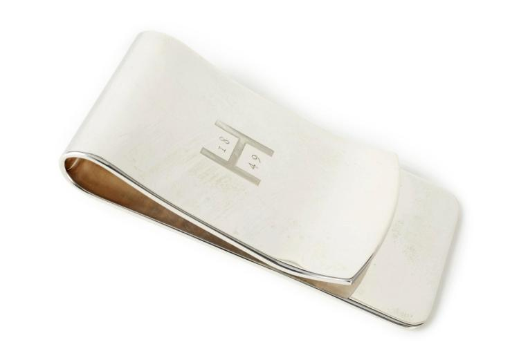 AN ELIZABETH II SILVER MONEY CLIP, LIONHEART FOR HUNTSMAN, LONDON, 21ST CENTURY |