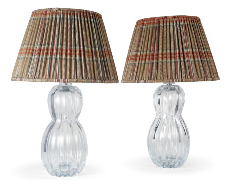 A PAIR OF HUNTSMAN MURANO LAMPS WITH HOUSE TWEED LAMPSHADES | Fermoie & Yali