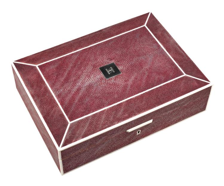 HUNTSMAN CLARET SHAGREEN WATCH AND CUFFLINK BOX | Cuirs d'Ocean