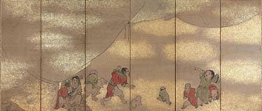 Nagasawa Rosetsu (1754-1799) CHINESE CHILDREN a pair of six-panel screens, mounted on brocade, ink a...