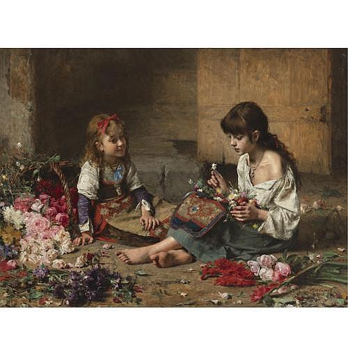 Alexei Alexeevich Harlamoff , Young Flower Girls, 1885