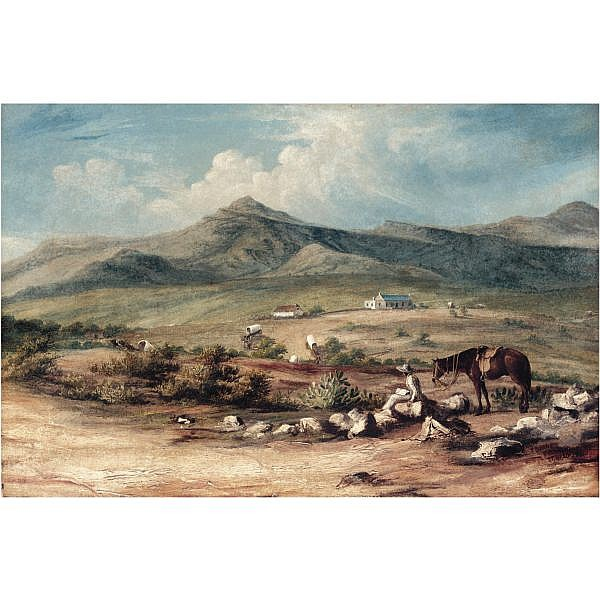 c - Thomas Baines 1820-1875 , The Artist and his mount overlooking a valley in the Eastern Cape, with a wagon train passing a farm below oil on canvas
