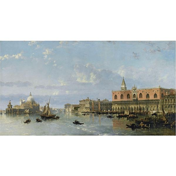 f - David Roberts R.A. 1796-1864 , View of the Doge's Palace and the Piazzetta, Venice, with Santa Maria della Salute to the left oil on canvas