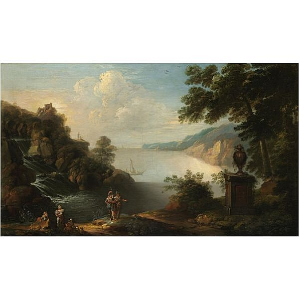 William Jones FL. 1741-1747 , A rocky coastal landscape with soldiers and other figures in the near foreground oil on canvas