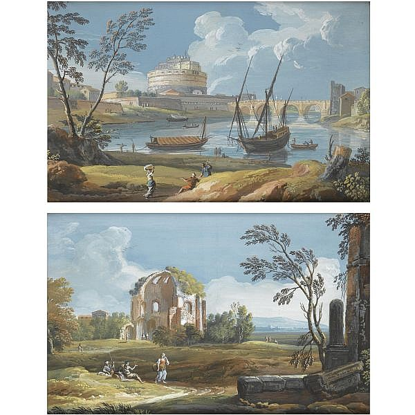 Giovanni Battista Busiri , Rome 1698 - 1757 a pair of roman views: the tiber with castel sant'angelo and ponte degli angeli with boats and figures; the temple of minerva medica and figures Both gouache, laid down on canvas, in their original frames