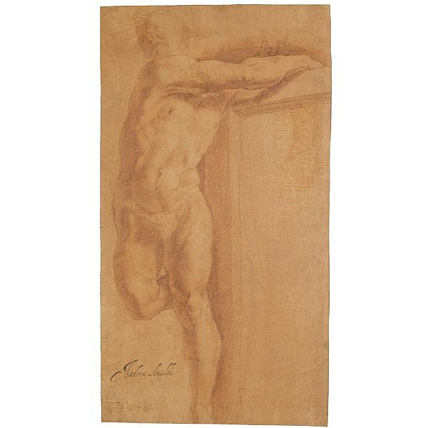 Giovanni Andrea Ansaldo , Voltri 1584 - 1638 Genoa study of a figure on a cross Red chalk on paper washed red; bears attribution in pen and black ink: Andrea Ansaldi