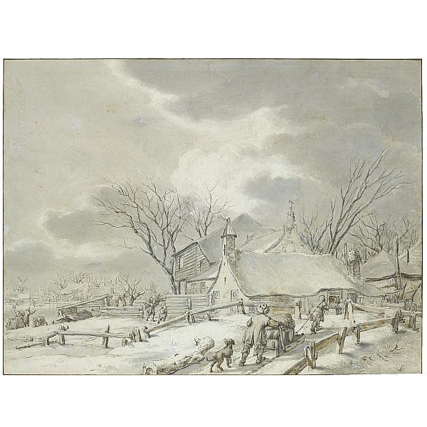 Jacob Cats , Altona 1741 - 1799 Amsterdam winter landscape with peasants with a sledge by a farm, a town beyond Black chalk and grey and brown wash, and touches of white heightening, within brown ink framing lines; signed, dated, and numbered in