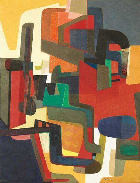 Maurice Esteve , 1904-2001 Trophée huile sur toile