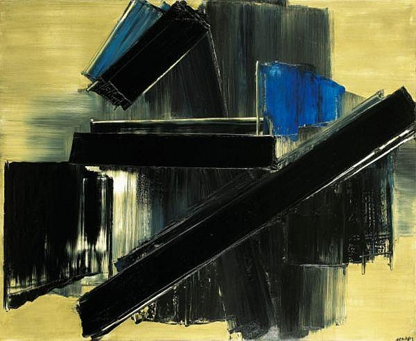 Pierre Soulages , n. 1919 Peinture, 21 juillet 1958 huile sur toile