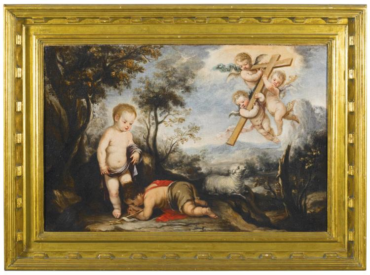 JOSÉ ANTOLINEZ   The Infant Saint John the Baptist kissing the feet of the Christ Child, three angels carrying a cross above