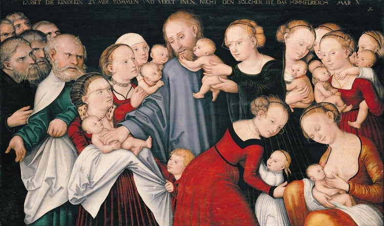THE PROPERTY OF A LADY LUCAS CRANACH THE YOUNGER WITTENBERG 1515 - 1586 WEIMAR CHRIST BLESSING THE