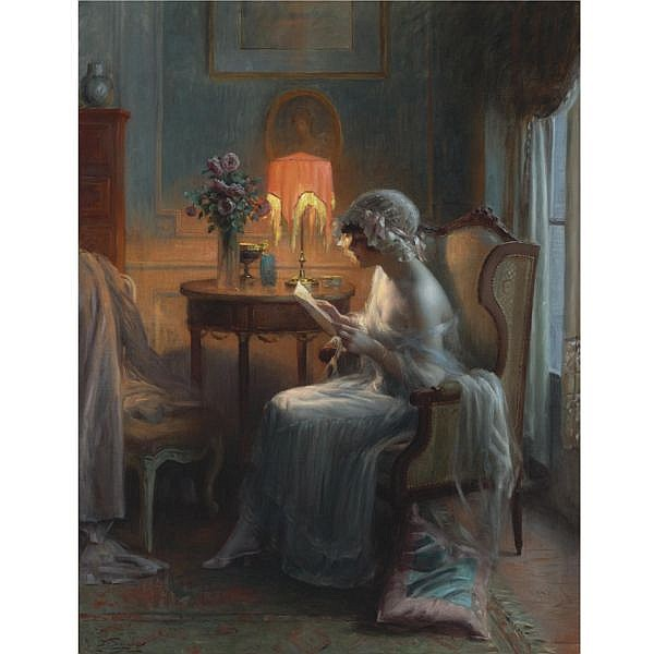 Delphin Enjolras , French 1857-1945 Reading A Letter oil on canvas