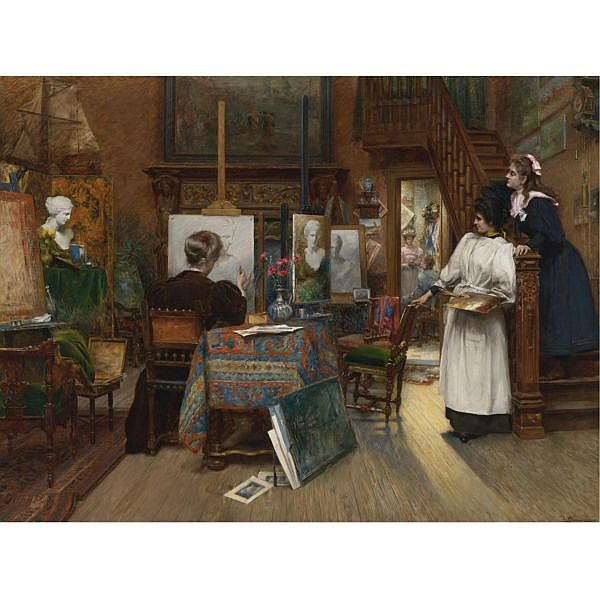 Charles Boom , Belgian 1858-1939 The Female Artists oil on canvas