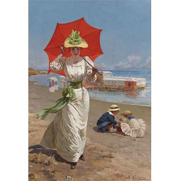 Fabio Cipolla , Italian b. 1854 The Red Umbrella oil on canvas