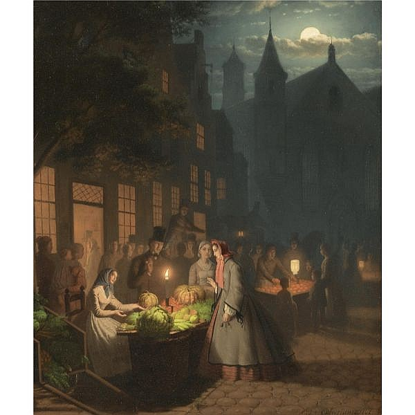 Johann Mengels Culverhouse , Dutch 1820-1891 Fruit and Vegetable Market oil on panel