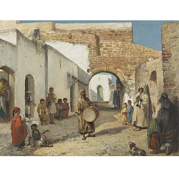 Victor Eeckhout , Belgian 1821-1879 The Musicians of Tangiers oil on canvas