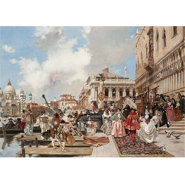 François Flameng , French 1856-1923 The Carnival, Venice oil on panel