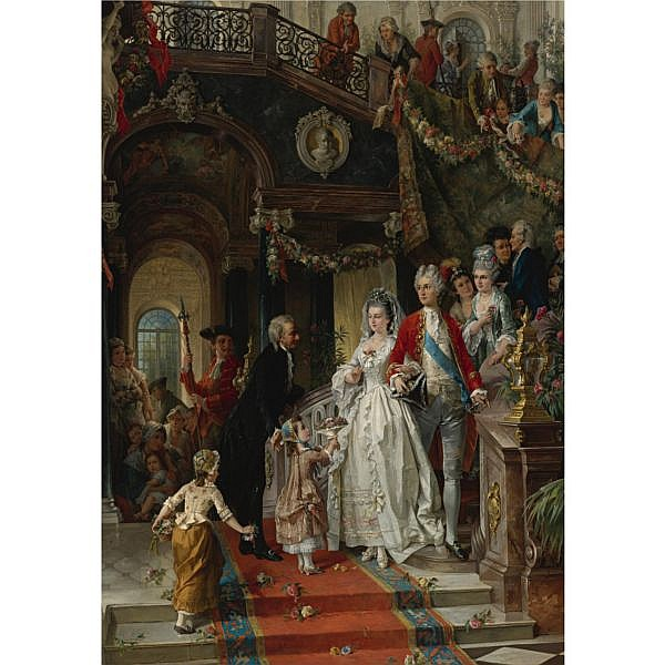Carl Herpfer , German 1836-1897 The Wedding Party oil on canvas