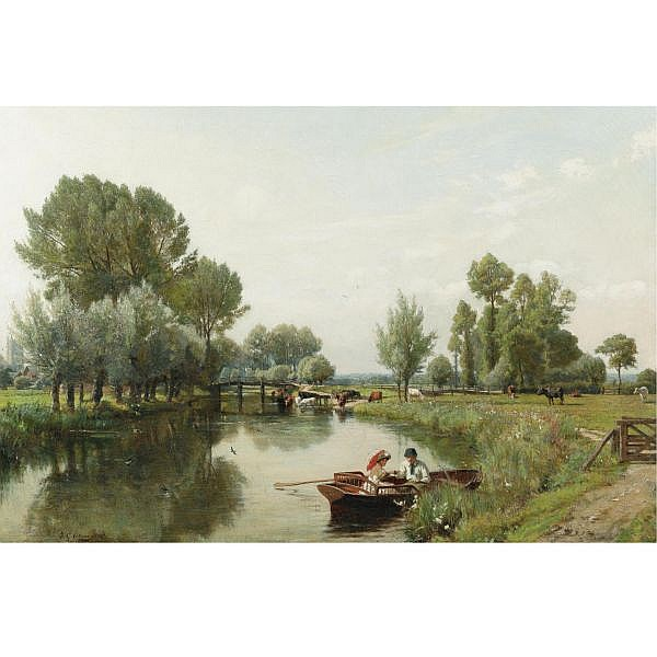 Frederick George Cotman , British 1850-1920 Boating in the English Countryside oil on canvas