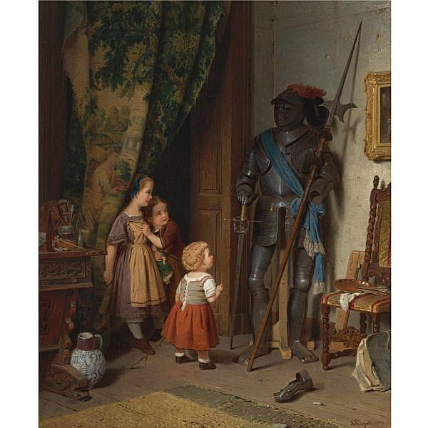 August Friedrich Siegert , German 1820-1883 Children in the Painter's Studio oil on canvas