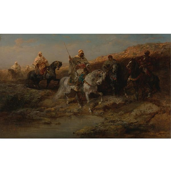 Adolf Schreyer , German 1828-1899 Arab Horsemen oil on canvas