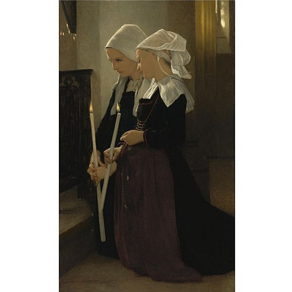 William Bouguereau , French 1825-1905 Le voeu à Sainte-Anne-d'Auray oil on canvas
