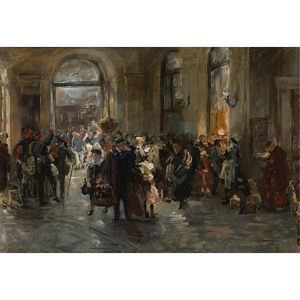 Ferdinand Brütt , German 1849-1936 At the Station oil on canvas