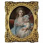 John Russell R.A. 1745-1806 , Portrait of Lady Frances Morgan and her daughter Eliza Georgina Morgan pastel, oval, in a gilt-wood frame, John Russell, Click for value