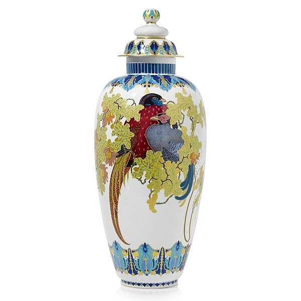 A large Berlin vase and cover after a design by Theodor Hermann Schmuz-Baudiss, German 1859-1942 early 20th century