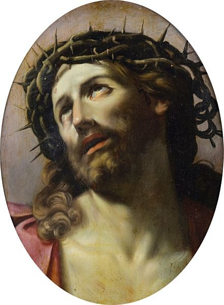 Attribué à Domenico Maria Canuti , Bologne 1620 - 1684 Le Christ à la couronne d'épines Attributed to Domenico Maria Canuti ; Christ wearing the crown of thorns ; oil on panel, oval Huile sur panneau, ovale