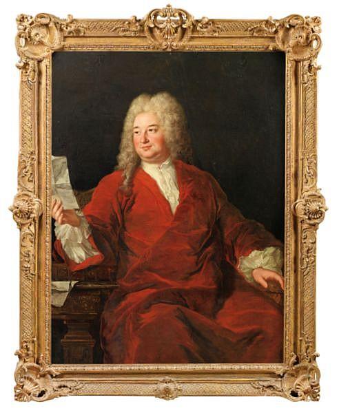 Alexis-Simon Belle , Paris 1674 - 1734 Portrait d'homme assis en manteau rouge tenant une lettre Huile sur toile Dans son cadre d'origine en bois sculpté doré d'époque Régence