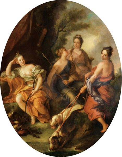 Attribué à Louis de Boulogne le Jeune , Paris 1654 - 1733 Le repos de Diane chasseresse et ses nymphes Attributed to Louis de Boulogne the Younger ; The rest of Diana the huntress and her nymphs ; oil on canvas, oval Huile sur toile, ovale