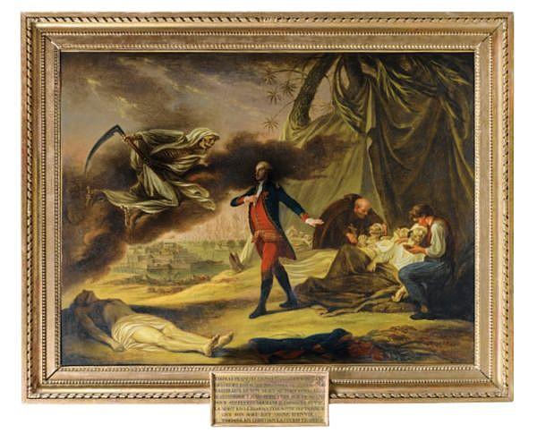 Nicolas-René Jollain , Paris 1732 - 1804 Portrait allégorique de Thomas François Le Normand de Victot (1742-1782), chevalier de l'ordre royal et militaire de Saint Louis, rencontrant la Mort Nicolas-René Jollain ; Allegorical portrait of Thomas