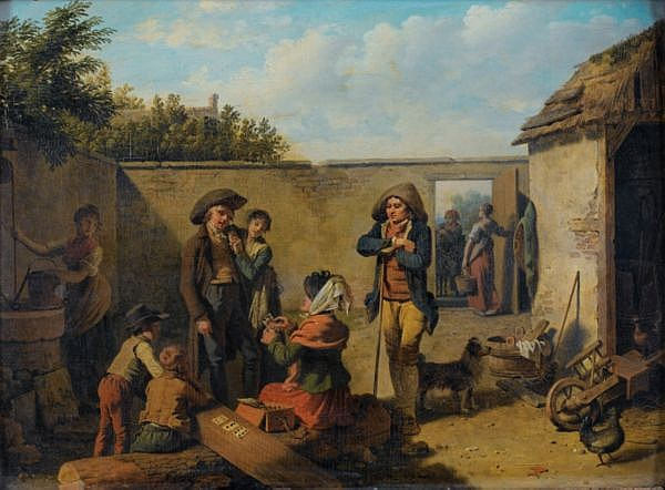 Martin Drölling , Oberbergheim, près de Colmar 1752 - 1817 Paris La diseuse de bonne aventure Martin Drölling ; The fortune teller ; signed lower centre ; oil on panel Huile sur panneau