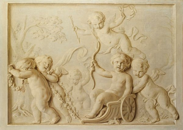 Attribué à François Eisen , Bruxelles vers 1695 - après 1778 Paris La Gloire de Cupidon ; Putti jouant à la balançoire Attributed to François Eisen ; The Glory of Cupid ; Putti playing on the swing ; oil on canvas, trompe l'oeil in grisaille ; a pair