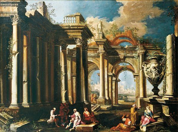 Alberto Carlieri , Rome 1672 - vers 1720 Caprices architecturaux: Apôtres prêchant dans des ruines romaines au pied d'un grand vase aux Trois Grâces ; Un groupe de bergers se réunissant autour de la statue de 'Silène portant Dionysos enfant' Huile