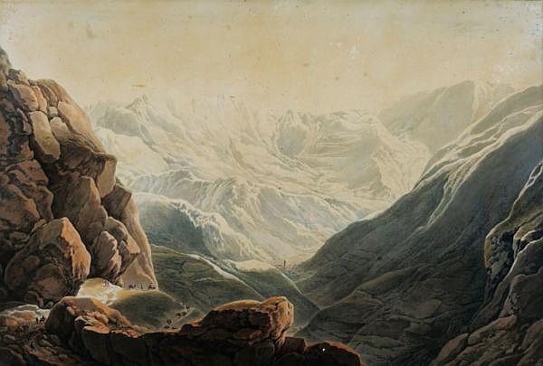 Giuseppe Pietro Bagetti , Turin 1764 - 1831   Vue du Col de Tende Plume et encre de Chine, lavis gris, aquarelle et rehauts de craie blanche Dans son cadre d'origine