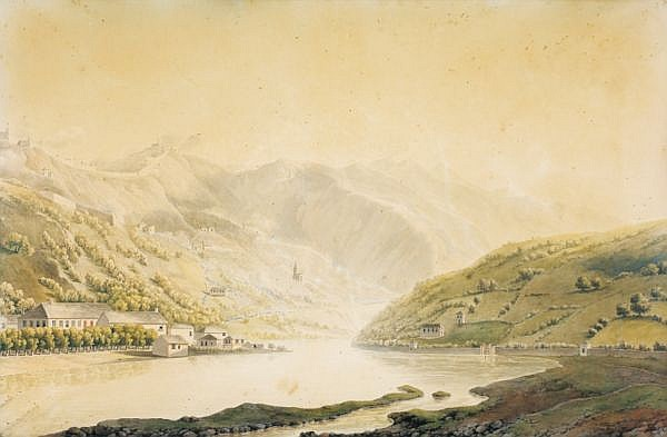Giuseppe Pietro Bagetti , Turin 1764 - 1831 Vue des environs de Gênes sur la rive droite du Bisagno Giuseppe Pietro Bagetti ; A view of Genoa's surroundings, on the Bisagno right-bank ; pen and black ink, grey wash, watercolour and heightened with