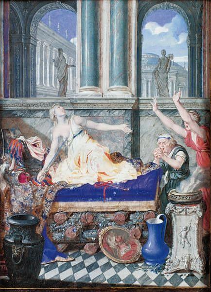 Joseph Werner , Berne 1637 - 1710 La mort de Didon Gouache sur vélin contrecollé sur une plaque de cuivre