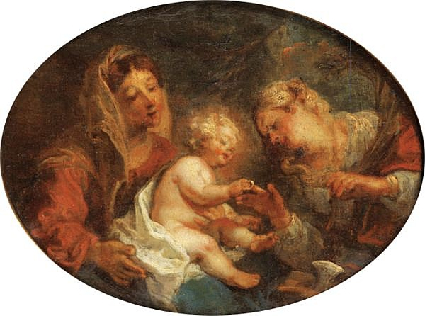 Charles de la Fosse , Paris 1636 - 1716 Le mariage mystique de sainte Catherine Huile sur toile, ovale
