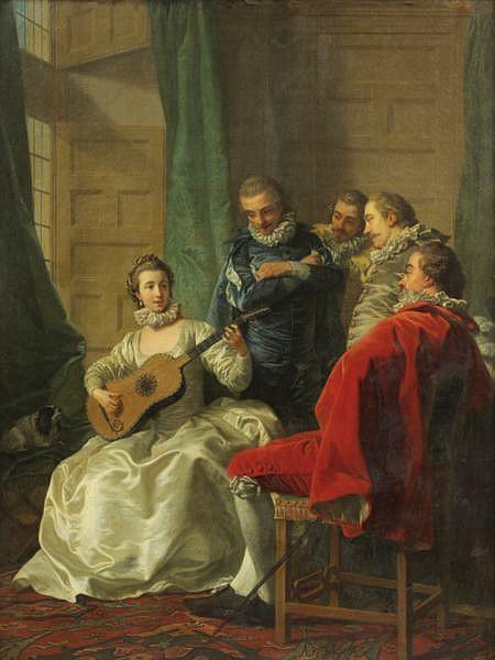 - Louis-Michel Van Loo , Toulon 1707 - 1771 Paris Une Espagnole jouant de la guitare   Huile sur toile